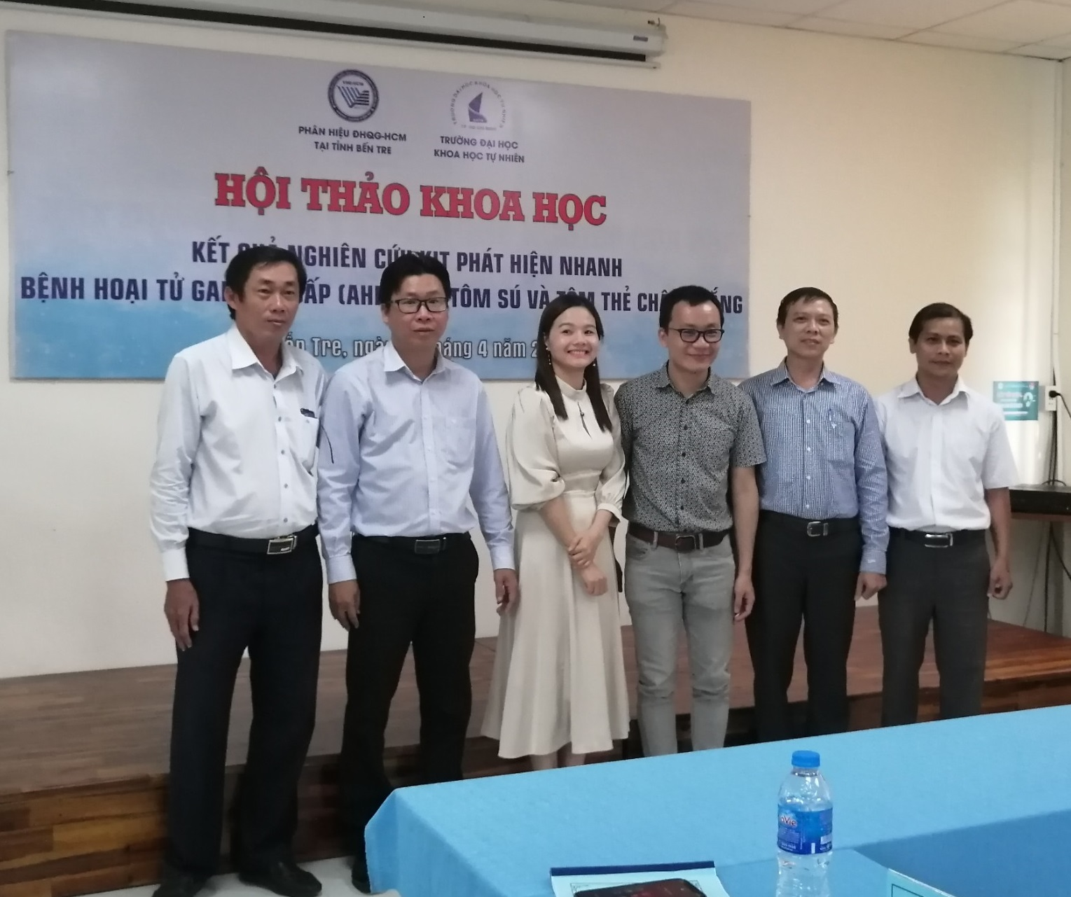 Phân hiệu Đại học Quốc gia Tp. Hồ Chí Minh tại Bến Tre  hội thảo khoa học công bố kết quả nghiên cứu KIT phát hiện nhanh bệnh hoại tử gan tụy cấp (AHPND) ở tôm sú và tôm thẻ chân trắng